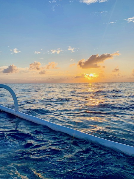 Sunrise in Amed Bali Indonesia on the Water