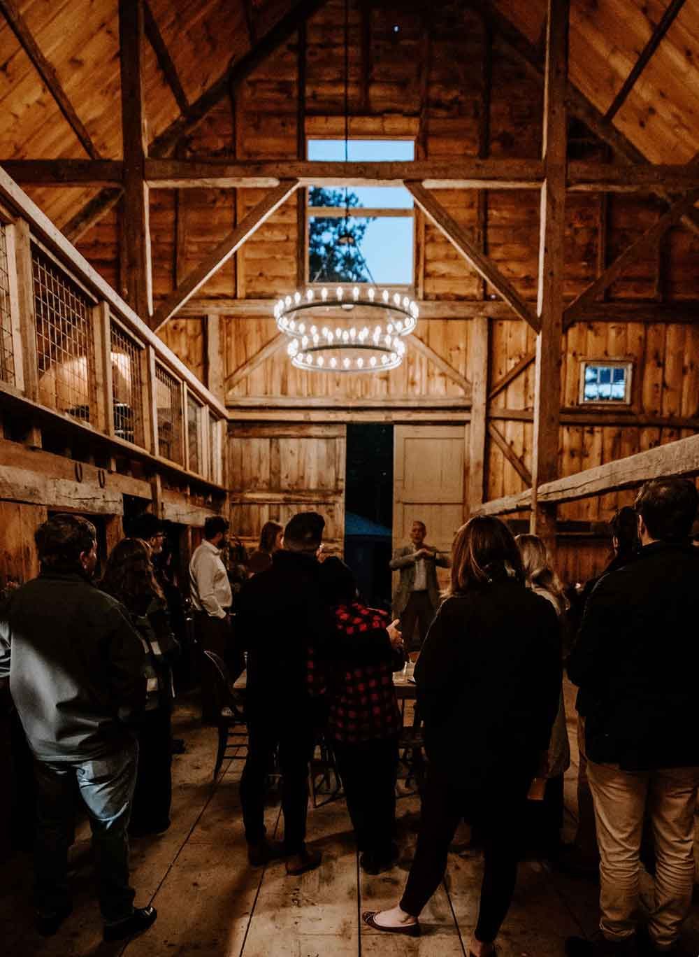 Inside the restored barn at the Squire Tarbox Inn