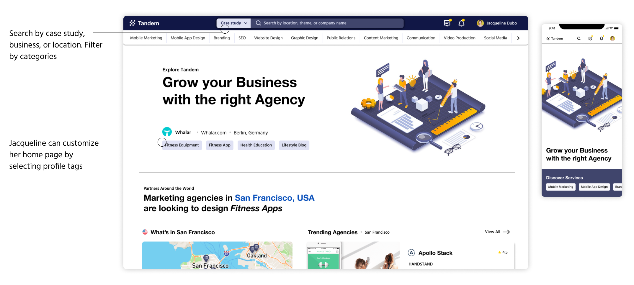 search and filter agencies with Tandem