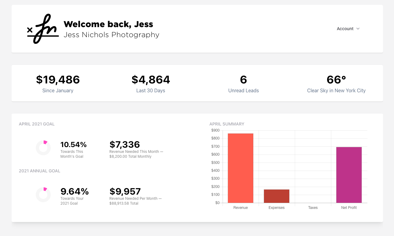 PicSpotr dashboard preview