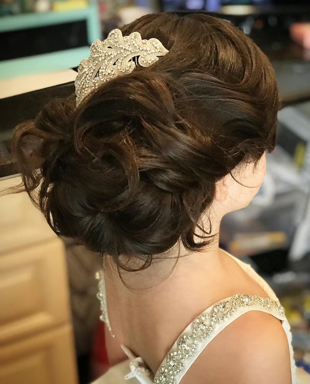 Communion hair and updo with a large clip