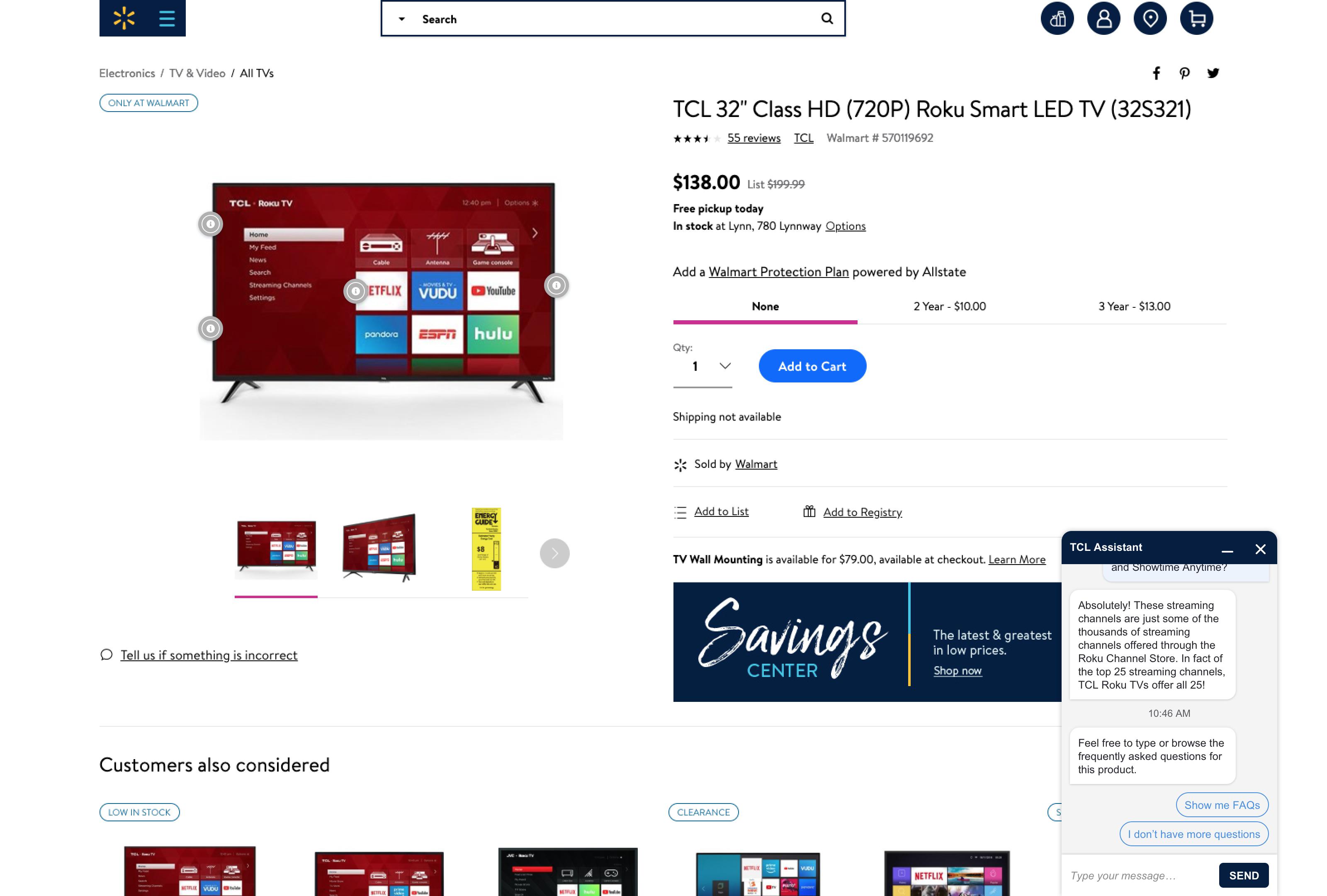 Screenshot of Chatbar 3 on Walmart.com