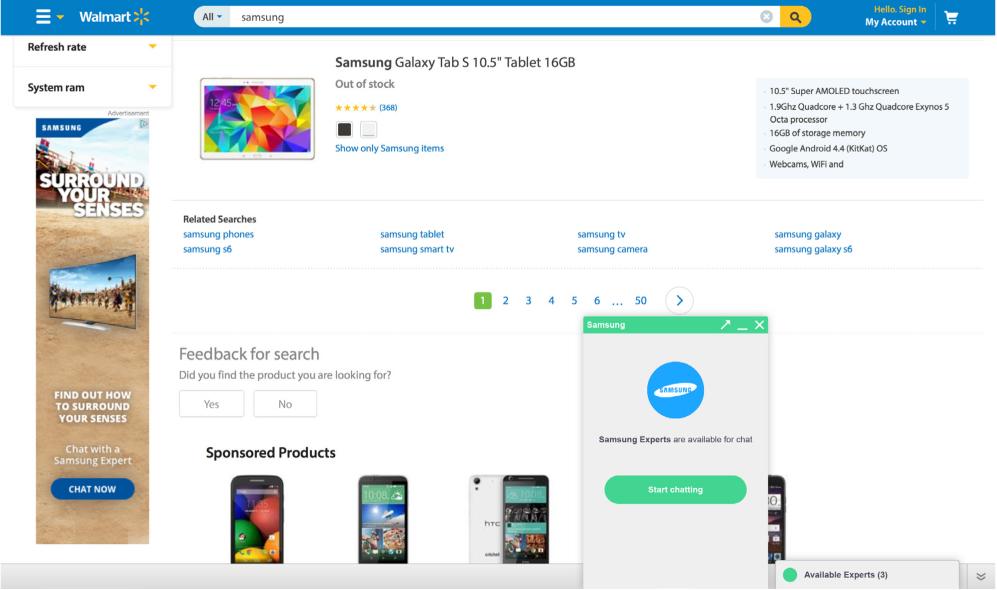 Screenshot of ChatAds and Chatbar on Walmart.com