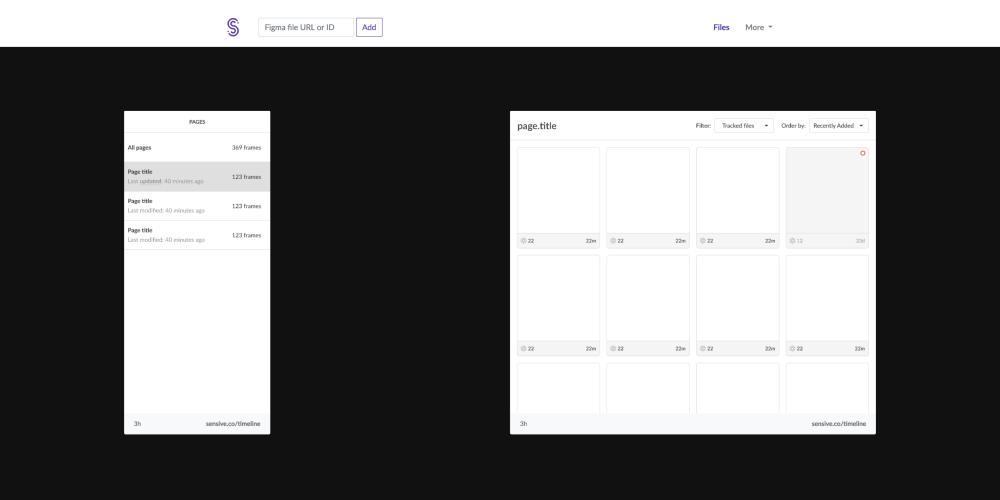 Screenshot of the Sensive UI