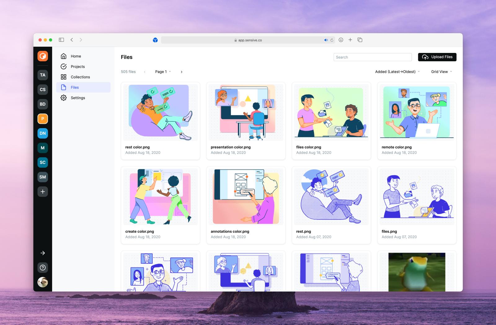 Screenshot of the modern Sensive UI