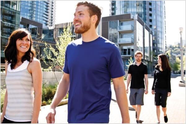 People walking outside the IU Health Building