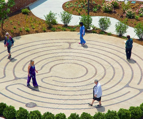 People walking around on the Riley Labyrinth
