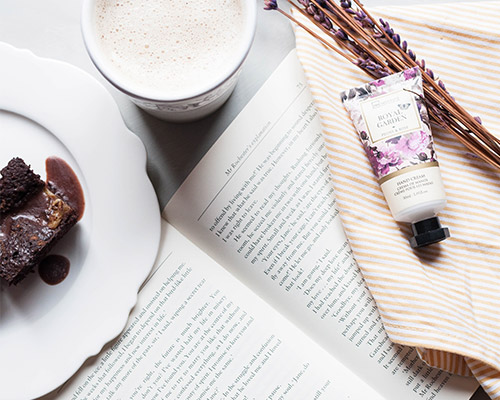 Brownie with a book and coffee
