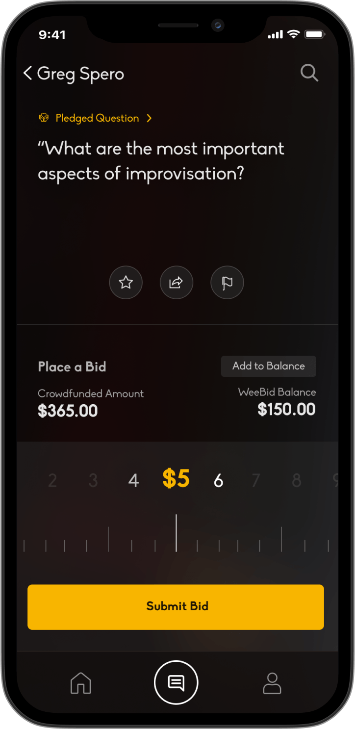 Bid to your favorite question app screen