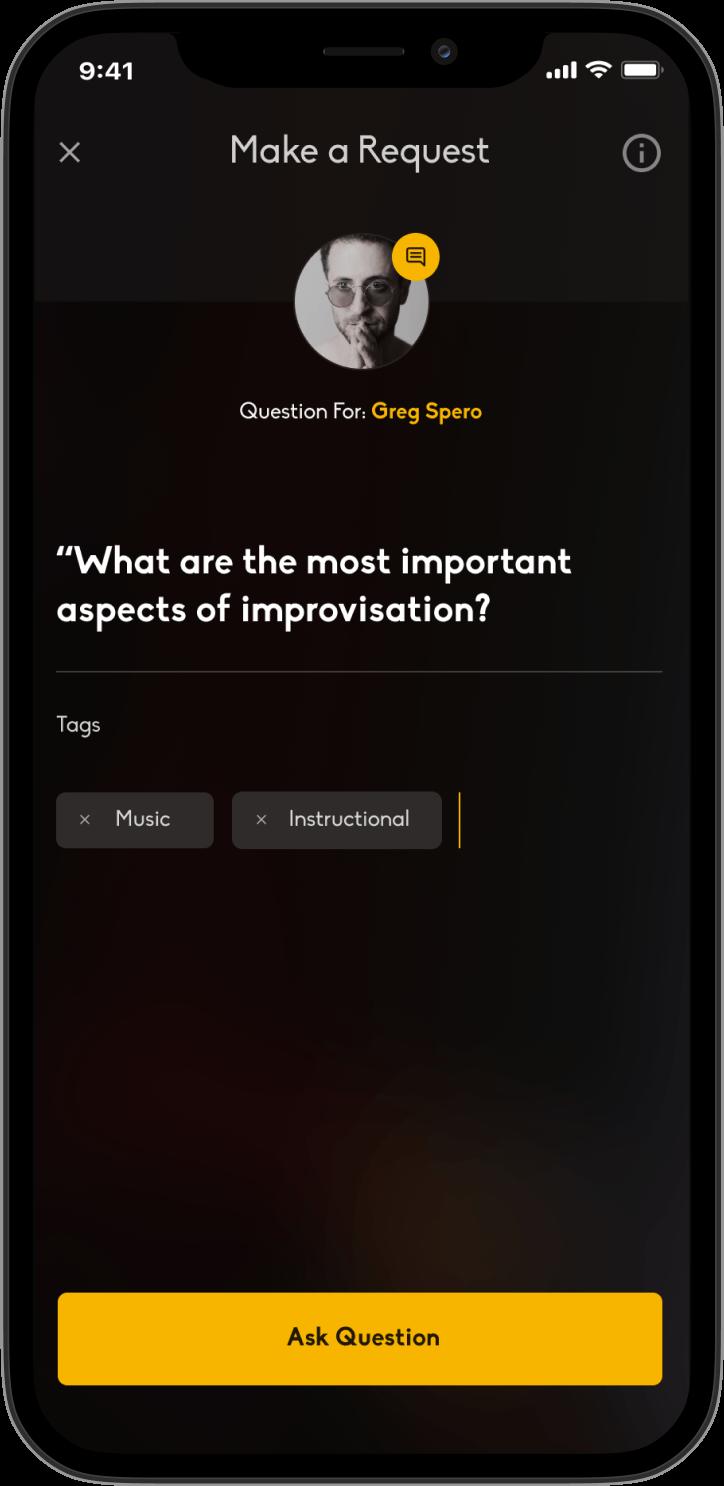 Ask a question app screen