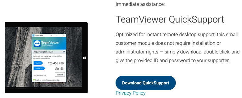 Windows TeamViewer QuickSupport