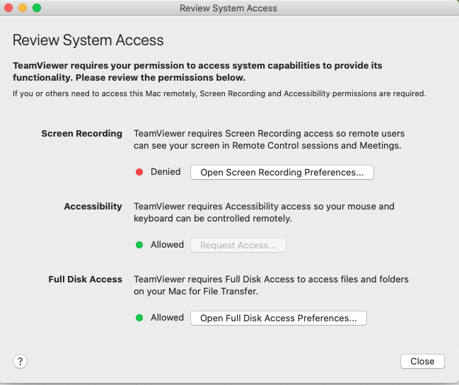Mac Catalina TeamViewer Review System Access