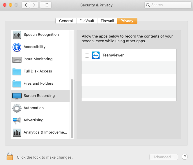 Mac Catalina Security&Privacy Screen Recording