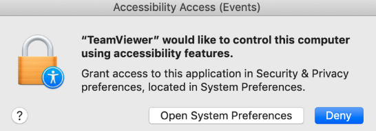 Mac Mojave TeamViewer AccessibilityAccess