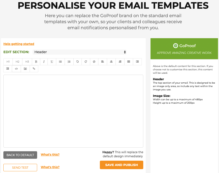 GoProof Customise Email Templates