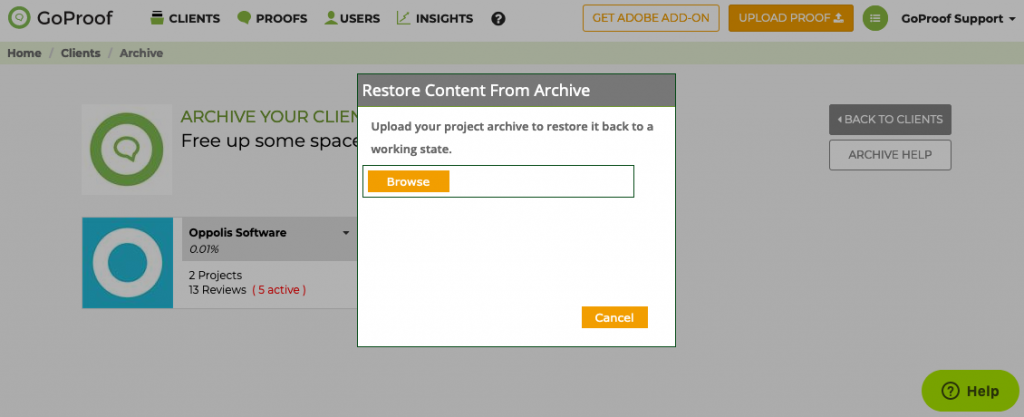 GoProof Restore Content from Archive