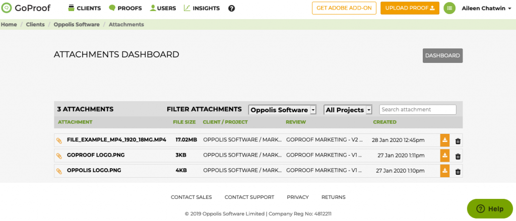GoProof Attachments Dashboard