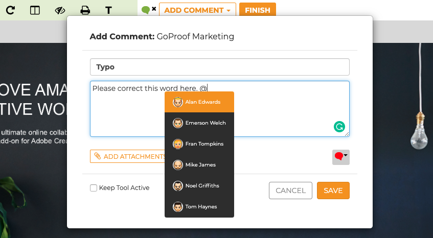 GoProof Mention Collaborator Comment