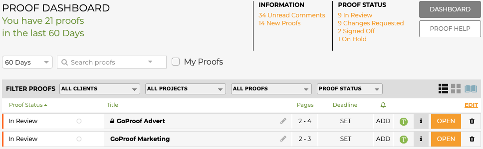 GoProof Proof List View