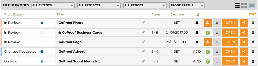 GoProof Publisher Proof Dashboard Icons