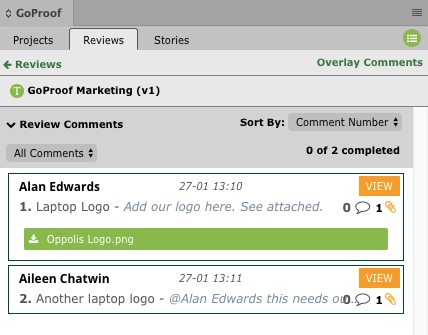 GoProof Reviews Comment Attachments