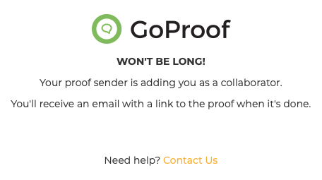 GoProof Proof Access Request Message