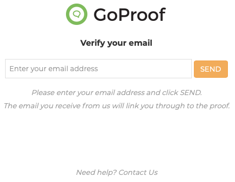 GoProof Verify Email Page