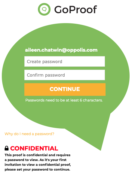 GoProof New Collaborator - Create Password
