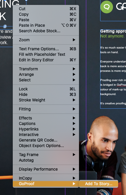 GoProof InDesign Right-Click Menu
