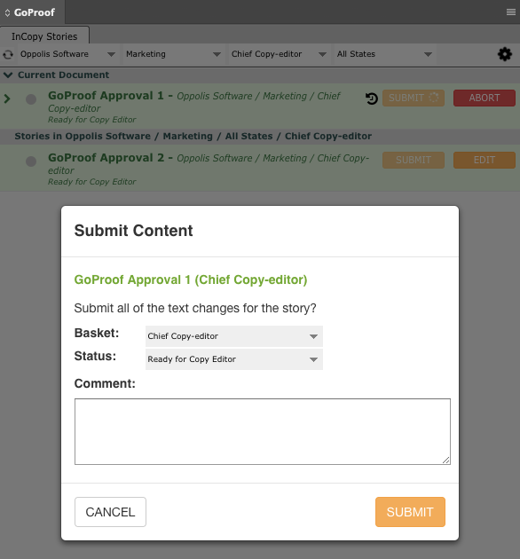 GoCopy InCopy Submit Text Changes