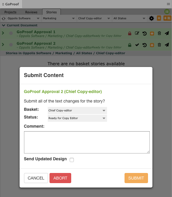 GoCopy InDesign Submit Text Changes