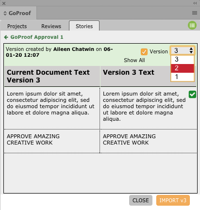 GoProof InDesign History Version Selector
