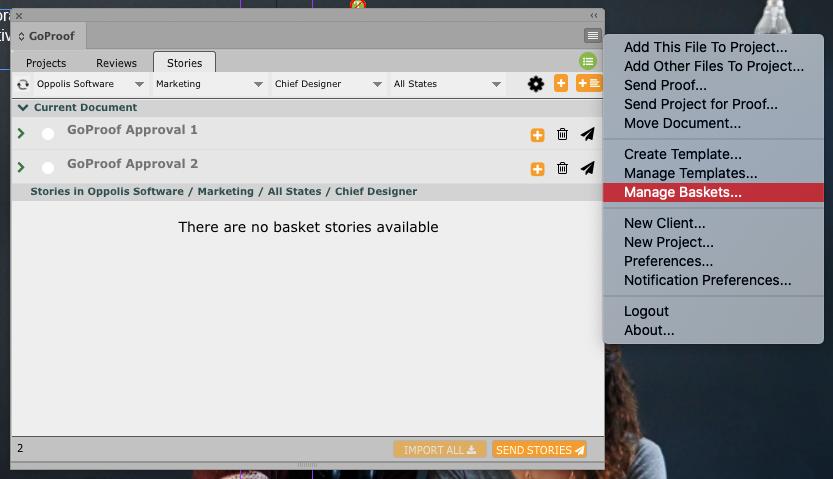 GoCopy Manage Baskets Option