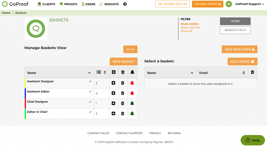 GoCopy Manage Baskets - Web