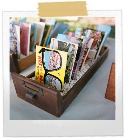 Put postcards in a box and set them out to be viewed.