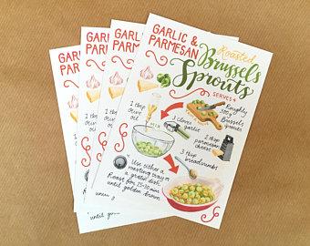 Recipe postcards | Etsy