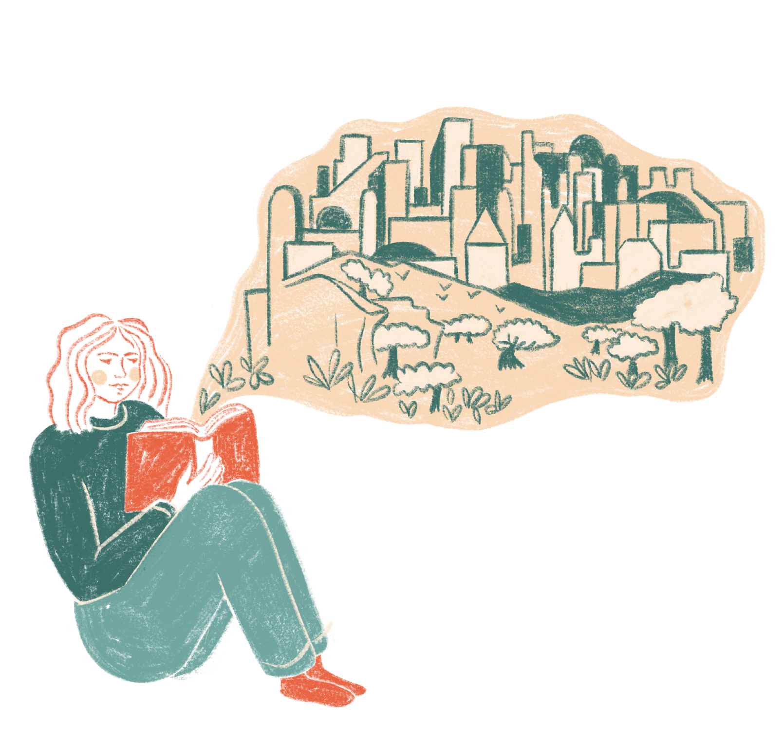 Illustration of a girl reading the Bible with a thought bubble visualising the gardens and cities in the story.