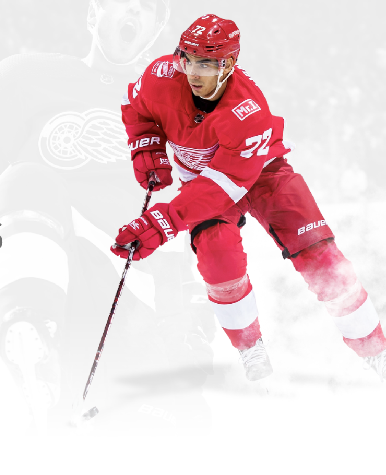 Image of Andreas Athanasiou of the NHL team Detroit Red Wings on a greyed out image of him in the background.
