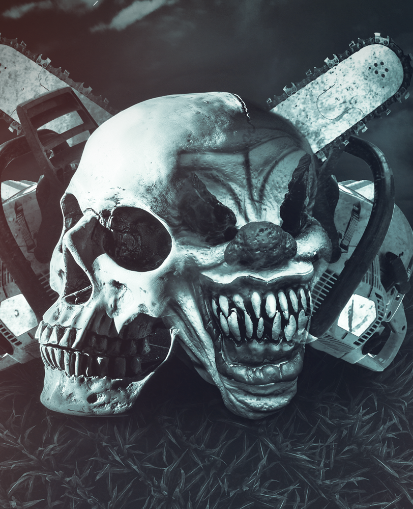 An image that shows the work for Scream Acres. It is a photo manipluation piece that has a scary cown mask attached to a skull with a two chainsaws in the background that form an 'X' behind.