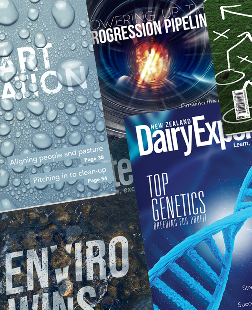 A collage of magazine covers that Aaron Davies has created in the past. They range from showing a DNA strand, a river, water drops and a pipelines.