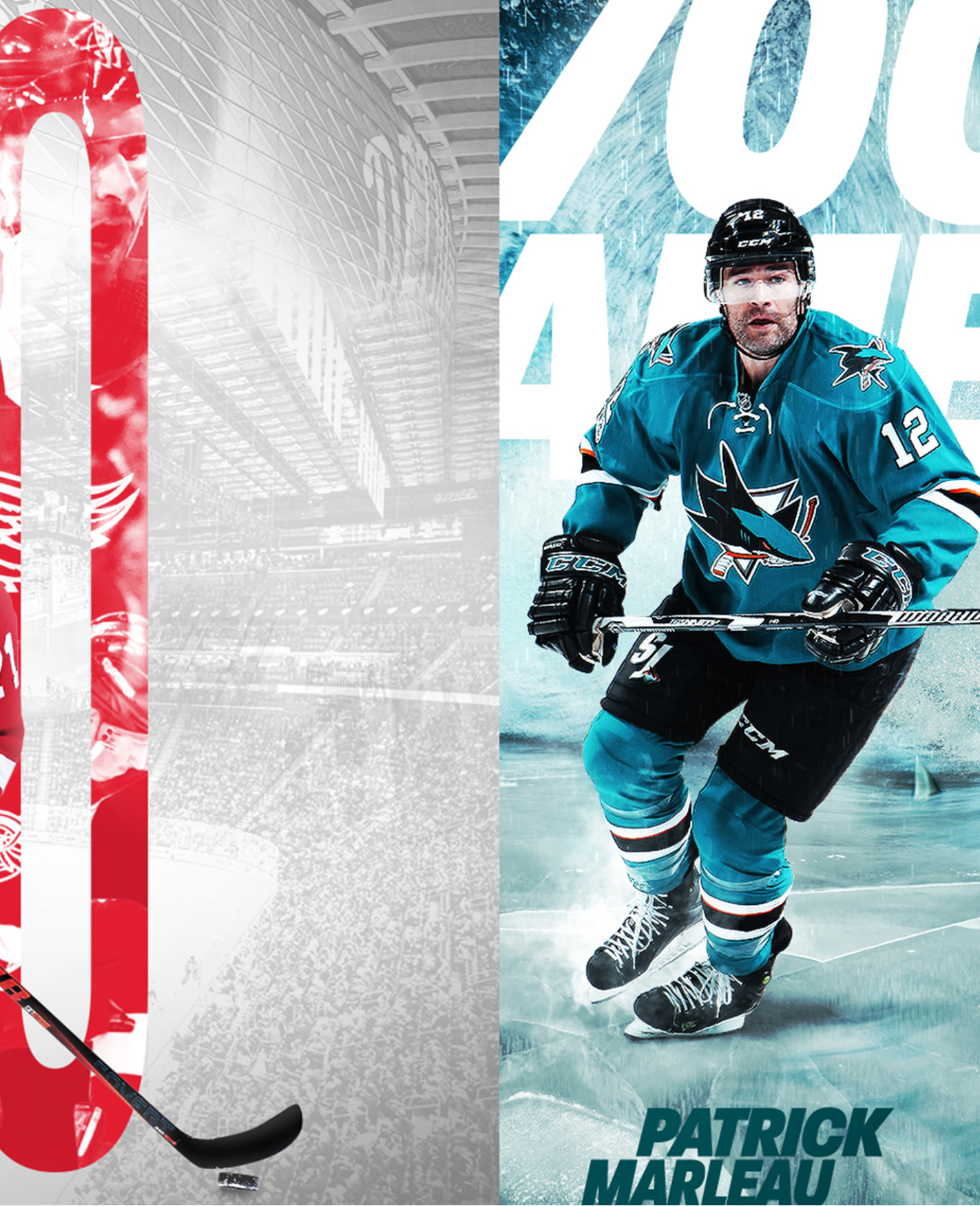 An image showing Dylan Larkin of the Detroit Red Wings with the number 100 behind him. On the other half of the image it shows Patrick Marlau when he was apart of the San Jose Sharks.