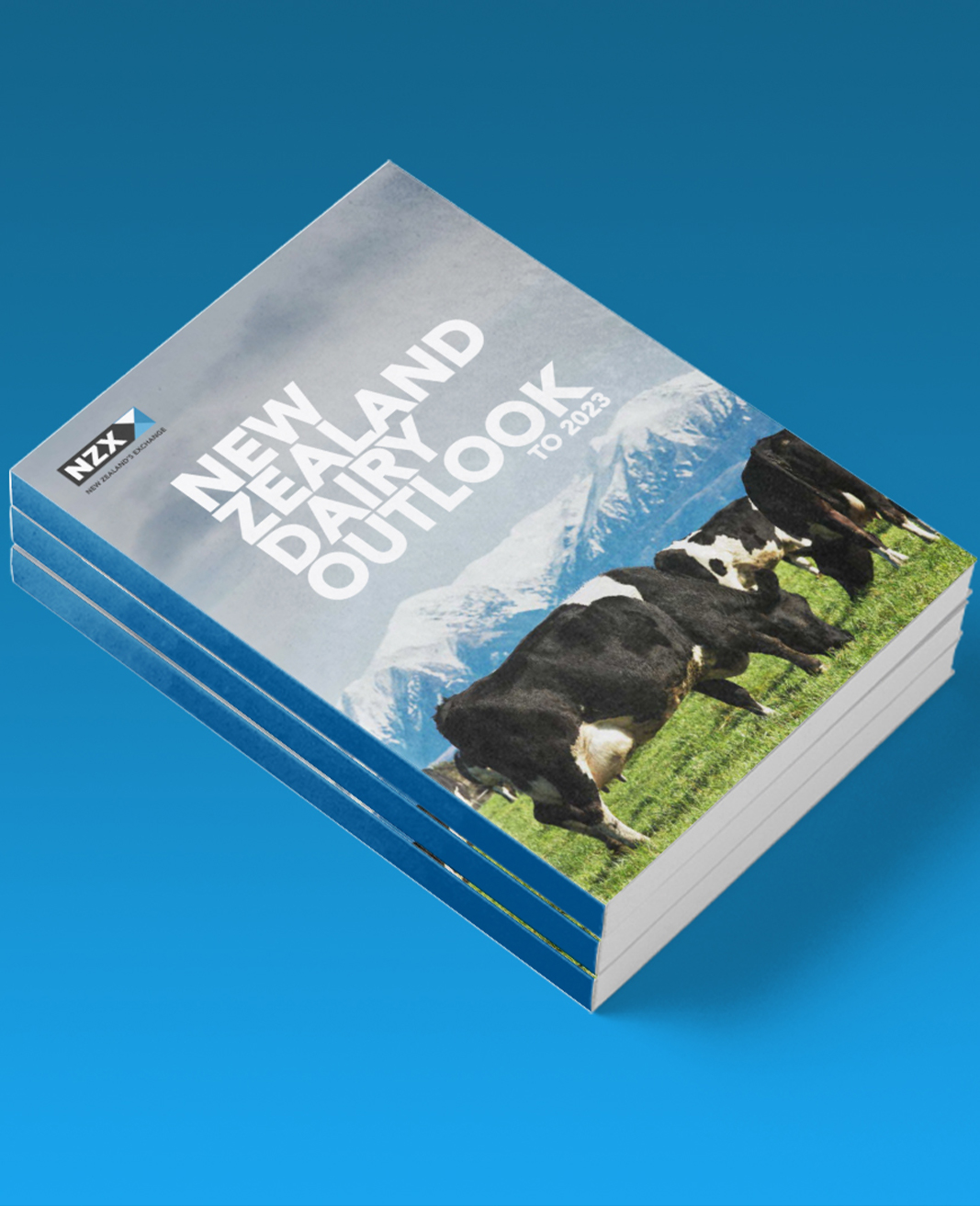 An image showing 3 books for the NZX NZ dairy outlook on a blue background