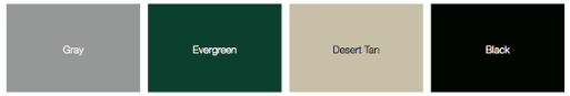 Green Eagle additional garage door color chart