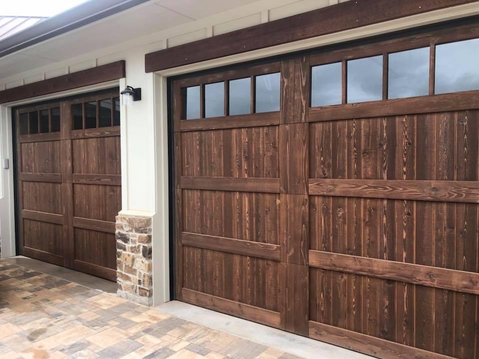 Cedar Garage Door dark stain