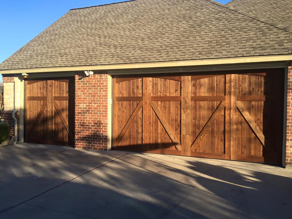 custom cedar garage door installation project