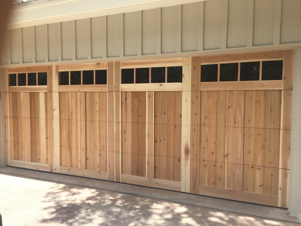 cedar garage door with windows denton