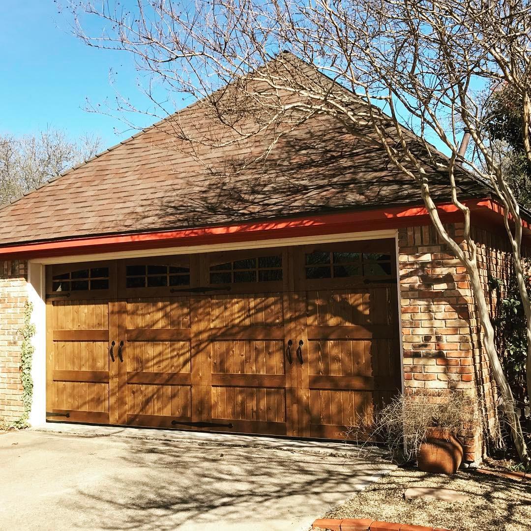 real wood cedar door Green Eagle Garage