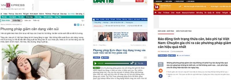 Báo chí đưa tin về Keto Slim