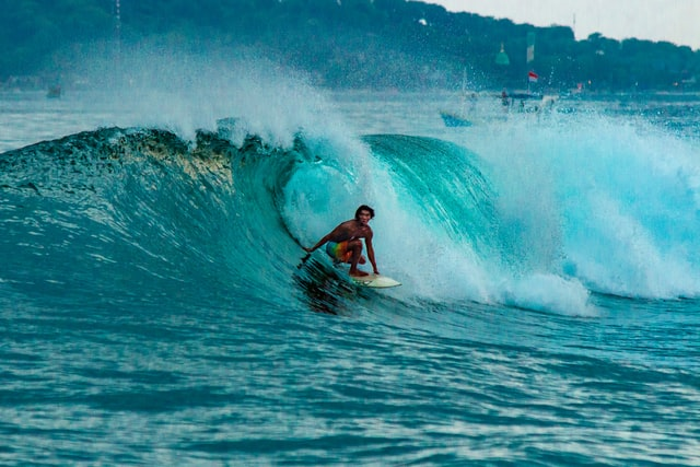 Surfing at Bali, Indonesia