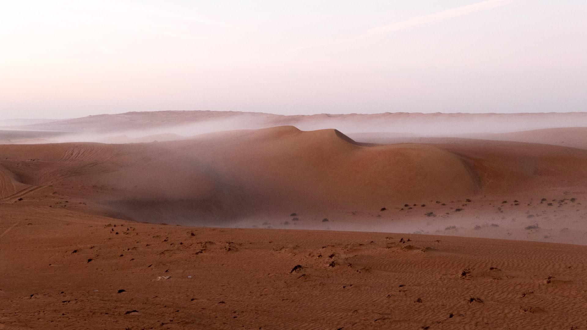 Foggy morning in the desert in Oman